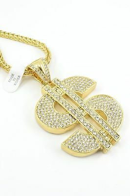 """GOLD Dollar Sign Iced Out Pendant Necklace 36"""" Franco Chain Bling HIP HOP"""