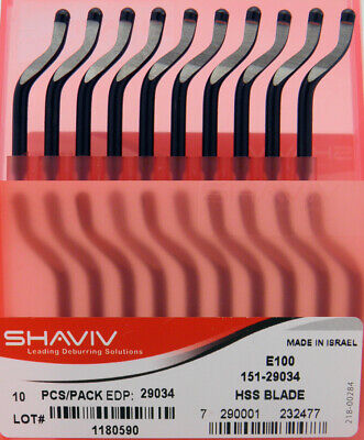 10pcs Type E100 High Speed Steel Right Hand Deburring Blades Shaviv EDP #29034