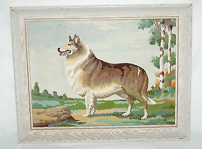 "Collie Paint By Number 16"" x 12"" Framed Vintage PBN Lassie Dog Whitewash Frame"
