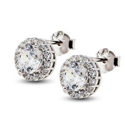 925 Sterling Silver 18K White Gold GP White Red Purple CRYSTAL Cz Stud Earrings
