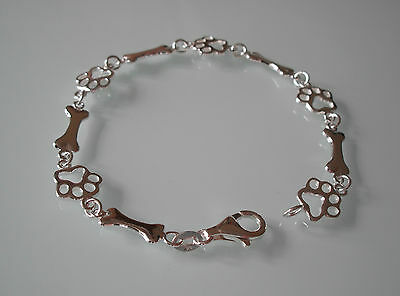 "Brand New Sterling Silver 7.5"" Paw & Bone Bracelet - Gift Boxed"