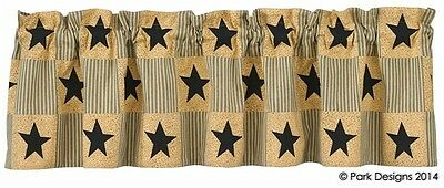 (1) Primitive Star Black & Tan Cotton Country Home Applique Lined Valance 60x14