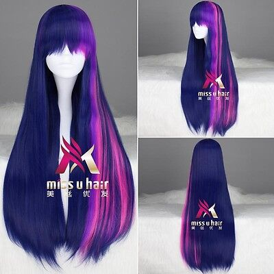 65cm mixed purple / pink My Little Pony Twilight Sparkle Cosplay Anime wig