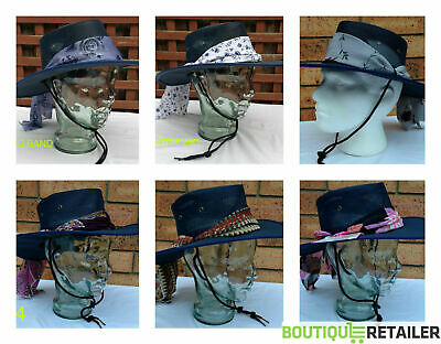 Barmah Ladies Canvas Drover Hat OUTBACK Brim Womens Fold Navy Blue COOLER Scarf