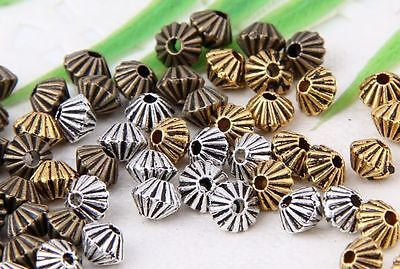 Wholesale 130//280Pcs Bronze、Silver 、Gold Plated(Lead-Free) Spacer Beads 5x4.5mm