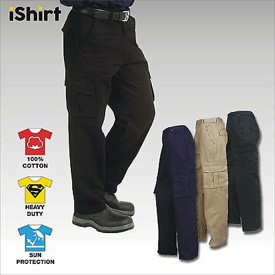 Cargo Work Pants Trousers In 100% Cotton Drill Heavy Weight Duty Safety Workwear