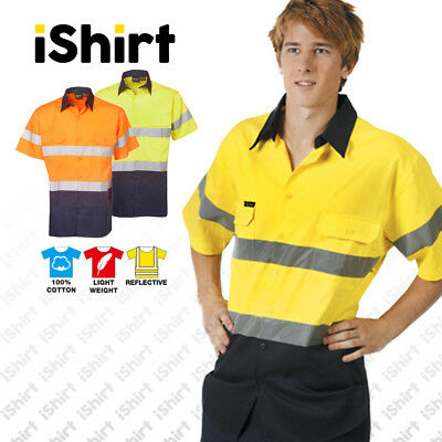 Hi Vis 155 Gsm Reflective Cotton Drill Shirt 2 Tone Short Sleeve Workwear
