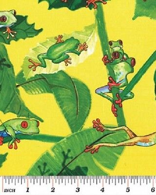 Tree Frogs Fabric Rainforest AVAILABLE IN 2 BACKGROUND COLORS-Yellow OR Black