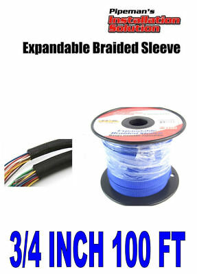 3/4 100FT Braided expandable sleeving tech fles harness wire loom cover (blue)
