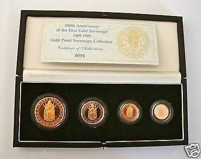 1989 Gold Proof Four Coin Set £5 £2 Sovereign 1/2 Half Sovereign
