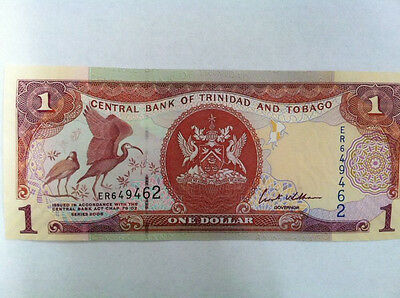 Trinidad and Tobago 1 Dollar note- FREE S&H, Lot of one unc bill from bundle