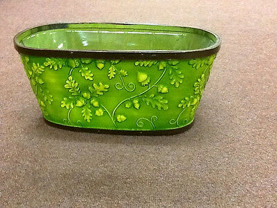 "Green Acorn Embossed wood window box planter with liner - Fits 2 -6.5"" Pot - New"