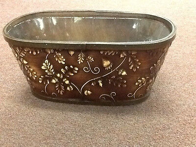 "Brown Acorn Embossed wood window box planter with liner - Fits 2 -6.5"" Pot - New"