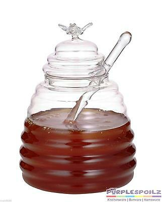 NEW HONEY POT + DIPPER Bee Glass Container Jug Breakfast Jam Syrup
