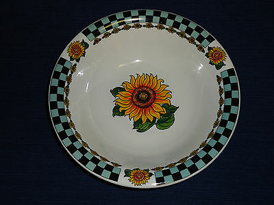 "8.25"" COUNTRY SUNFLOWERS w/Checkered Border porcelain CEREAL/SALAD BOWL"