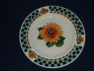 "10.5"" COUNTRY SUNFLOWERS w/Checkered Border porcelain DINNER PLATE"
