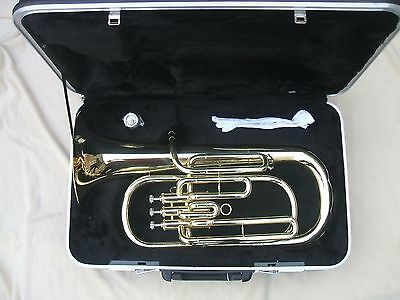 new Baritone horn outift Bb key gold plated body hard case mouthpiece etc