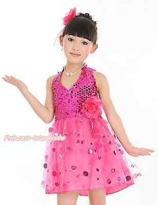 Hot Pink Halterneck Sparkle Sequins Kids Girl Dance Party Dress Wear 1-8Year