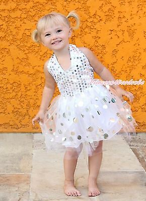 White Silver Sparkle Sequins Halterneck Party Dress Kids Girl Costume TuTu 1-8Y