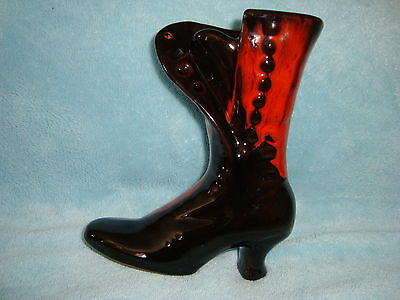 "Canuck Pottery Red High Heel Boot 5.75"" tall x 4.5"" long"