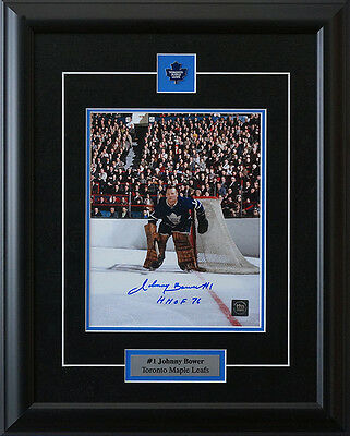 Johnny Bower Toronto Maple Leafs Signed Framed 8 x 10 and Crowd
