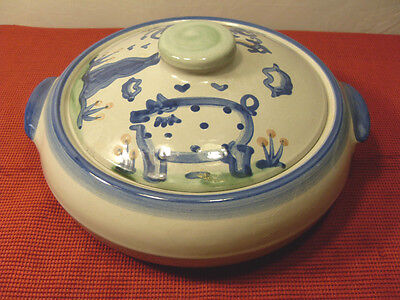 Large M.a. Hadley Pig & Cow Stoneware Covered Casserole 10 Inch