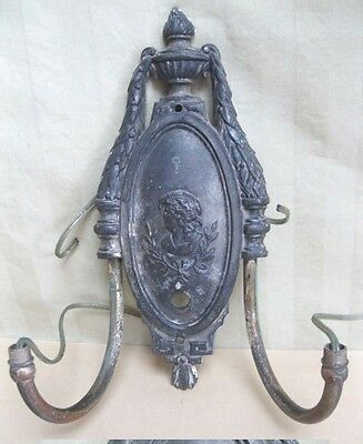 Vintage SCONCE,Metal Plaque,2-Arms,WOMAN BUST DESIGN,Electric,C.1900