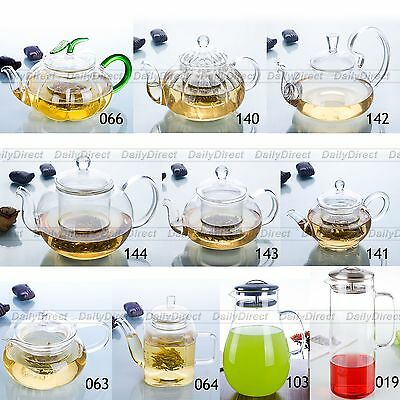 1pc A variety of shapes Handmade Heat-Resisting Glass Clear Flower Teapot w/ Lid