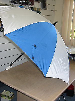 "58"" Windproof Golf Umbrella, Double Canopy, White/Blue"