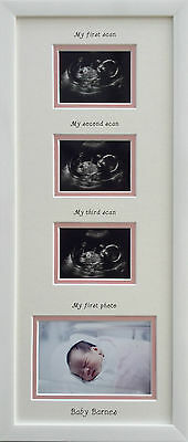 Personalised Girl 1st/2nd/3rd scan & 1st Photo Triple picture Frame Gift 20 x 8
