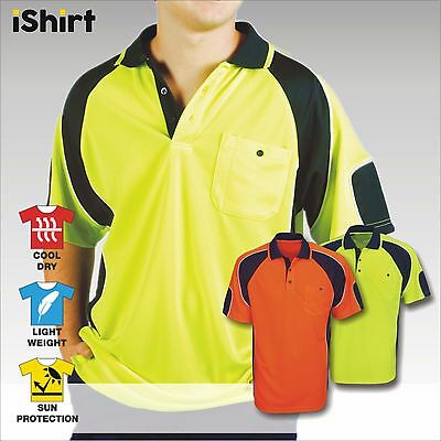 Hi Vis Polo Shirt Cooldry Breathable Side Panel Micromesh Short Sleeve Workwear
