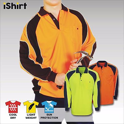 Hi Vis Polo Shirt Cooldry Breathable Side Panel Micromesh Long Sleeve Workwear