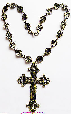 Elaborate Gothic Tudor  Rose Chain Cross Necklace  Larp Sca Rennaissance