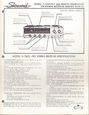 Sherwood Service Manual: Model S-7600-Fet Stereo Receiver