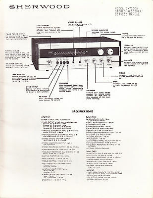 Sherwood Service Manual: Model S-7100A Stereo Receiver