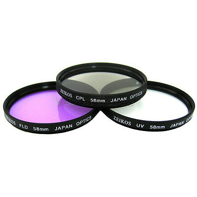 Zeikos 58mm Multi Coated 3 Piece Filter Kit: UV+ FLD+ CPL