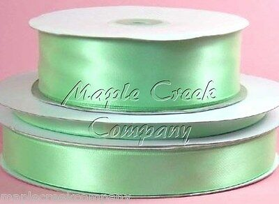 Double Face MINT GREEN Polyester Satin Ribbon Assorted Sizes ~ Elegant & Silky
