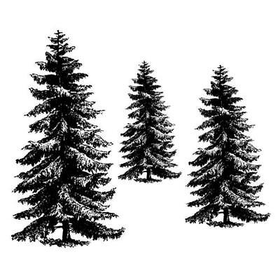 PINE TREE set, 3 unmounted rubber stamps #19