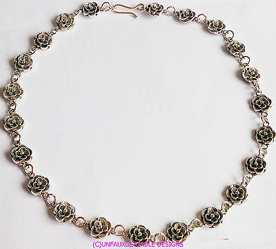 Elaborate Silver Gothic Tudor  Rose Chain Necklace  Larp Sca Rennaissance