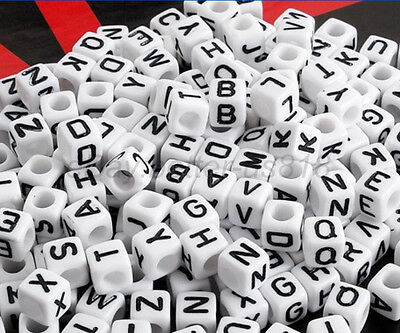 100pcs Acrylic SINGLE LETTER A-Z White Cube ALPHABET Charms Loose BEADS 6MM