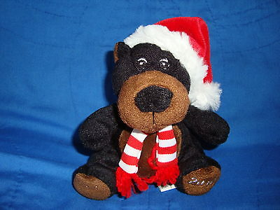 "Sears Christmas Plush Beanbag Black Bear 2010 Crispin 5.5"" tall"