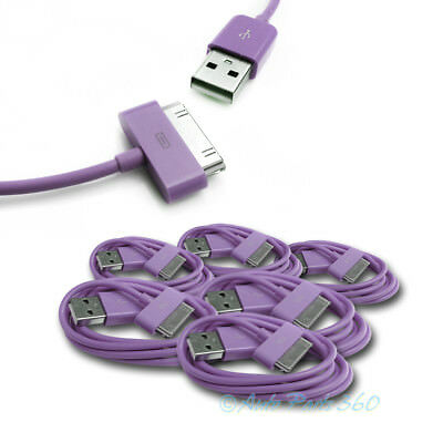 3X 6FT USB SYNC DATA POWER CHARGER CABLE APPLE NEW IPAD IPHONE IPOD TOUCH PURPLE