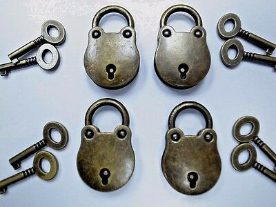 (Lot of 4) Old Vintage Antique Style Classic Mini Padlocks With Keys