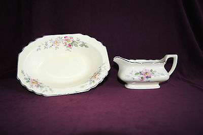 WS George Blossoms Lido Canarytone lot of 2 gravy boat oval serving bowl china