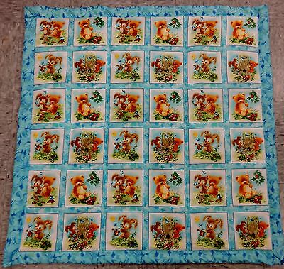 Blue Crib Size Quilt with Bears and Bunnies