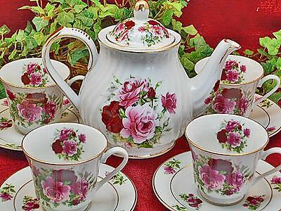 Summertime Rose Porcelain Tea Set: Tea Pot and Four Cups and Saucers MADE IN USA