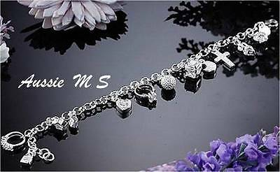 ADJUSTABLE children baby christening charm bracelet 925 sterling silver p bangl