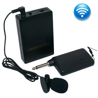 Mini Wireless Cordless Clip-on Lapel Tie Microphone Mic Transmitter Set AU
