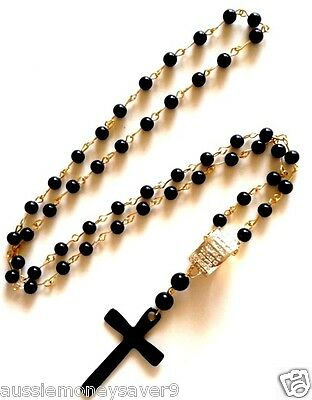 Christian Rosary Prayer Bead CROSS crucifix Gold Chain Necklace Ring FREE giftba