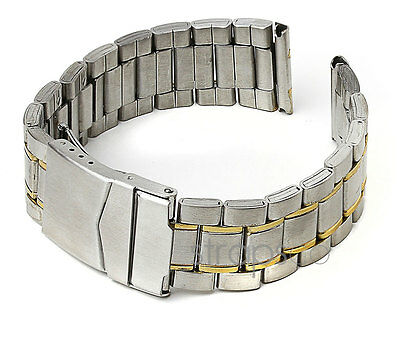 StrapsCo Stainless Steel 2 Two Tone Yellow Gold & Silver Mens Watch Band Strap